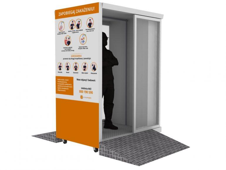 (Polski) Automatyczna, mobilna kabina do dezynfekcji