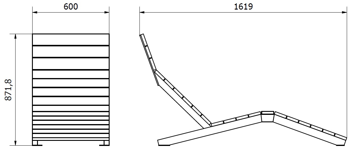 Leżak - wymiary gabarytowe