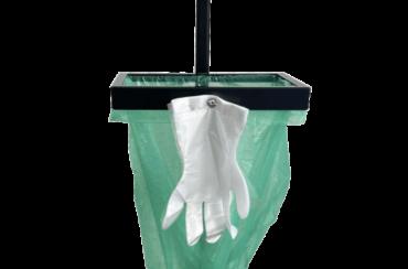 Podajnik na rękawiczki zrywki z dozownikiem łokciowym