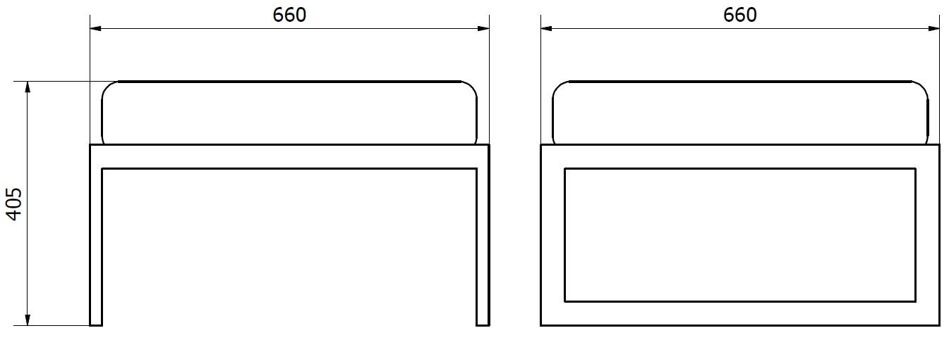 siedzisko pojedyncze - wymiary gabarytowe