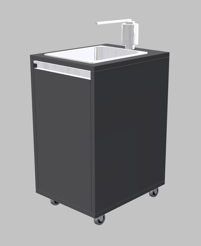 The mobile washbasin for the bistro area in the grocery store